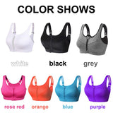 Sports Bra Women With  Front Zipper Fitness Shirt Push Up Plus Size S-XXXXXL