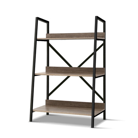 Storage 3 Level  Metal Frame  Bookcase Display  Oak Look