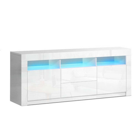 Stand Cabinet With LIGHT effects 1.6 M in  High Gloss Storage media devices TV Unit Stand  Drawers White