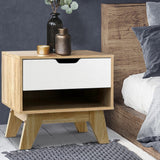 Bedside Table with Drawer Cabinet Storage Wooden Looks