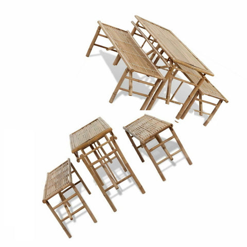 "Natural Materials Set Table and Seats FOLDABLE -Wooden Bamboo ""jolbamset"""