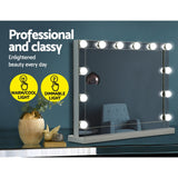 Mirror Makeup Mirror With Light 12 LED Bulbs Vanity Lighted Silver 58cm x 46cm