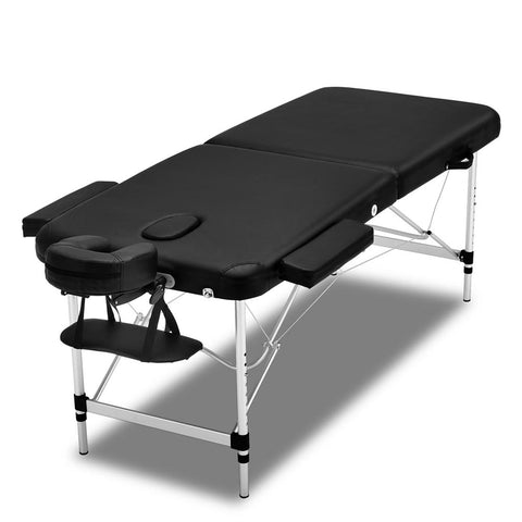 Massage Table 2 Fold Portable Aluminium Massage Table - Black