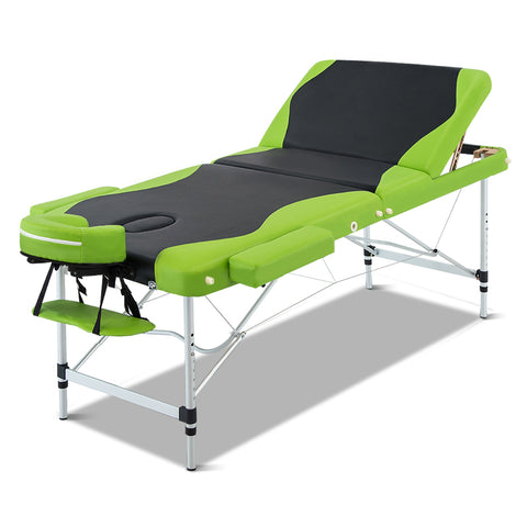 Massage Table 3 Fold Portable Aluminium Massage Table - Green & Black