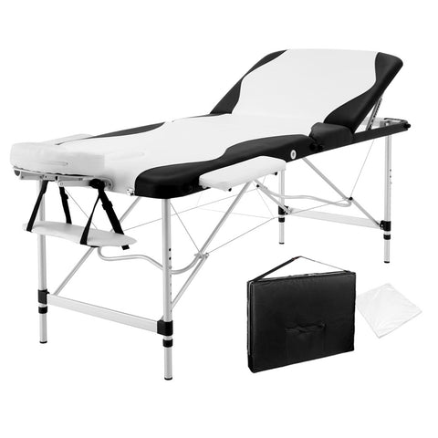 Massage Table 3 Fold Portable Aluminium Massage Table - Black & White