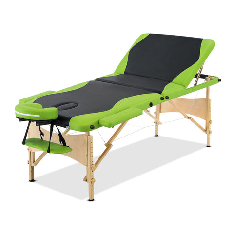 Massage Table 3 Fold Portable Wood Massage Table - Black & Lime