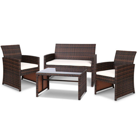 Set of 4 Outdoor Wicker Chairs & Table - Brown