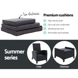 Chair with Stool as set ,Sun lounge  Wicker Lounger Sofa  Patio Garden Cushion Ottoman Black