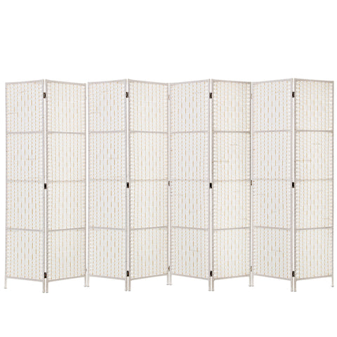 Divider 8 Parts Room Divider Screen Privacy Folding White