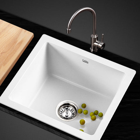 Sink 46 X 41 cm Stone Kitchen Sink Granite   Under/Topmount Basin Bowl Laundry White