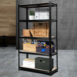 Racks Shelving Racking 0.9M 5-Shelves Steel Warehouse  Garage Storage Rack Black