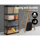 Storage Rack Shelving 3x0.9M 5-Shelves Steel Warehouse Shelving Racking Garage Storage Rack Black
