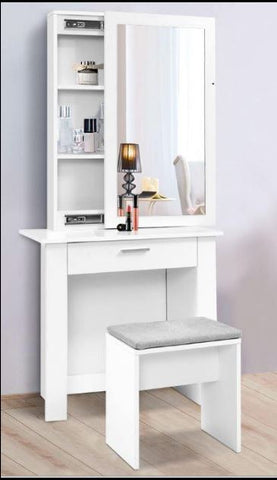 Beauty Console with Mirror Table with Stool, Storage Shelves Cabinet Storage