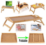 Natural Materials Stand Tray Easy Folding Carry Serve Bamboo