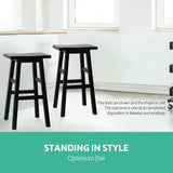 Stools x2 Set Black, White Natural Wooden  jolstoobade