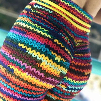 Women Knit look or just  Print Leggings Colorful Sports Fitness tompalla (P)