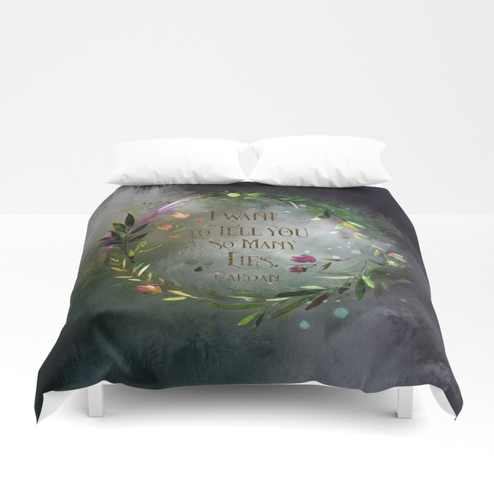 I want to tell you so many lies. Cardan Quote Duvet Cover - LitLifeCo.