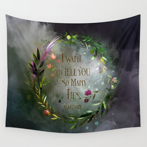 I want to tell you so many lies. Cardan Quote Wall Tapestry - LitLifeCo.