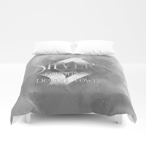 SILVER for the demon towers. Shadowhunter Children's Rhyme Quote Duvet Cover