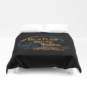 He's flint... The Cruel Prince Quote Duvet Cover - LitLifeCo.