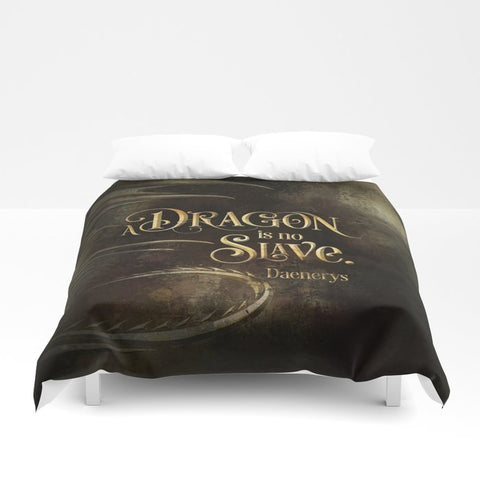 A dragon is no slave. Game of Thrones (A Song of Ice and Fire) Quote Duvet Cover - LitLifeCo.