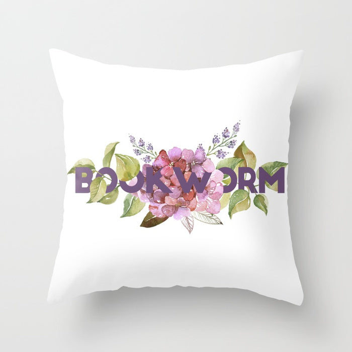BOOKWORM Floral Pillow - LitLifeCo.
