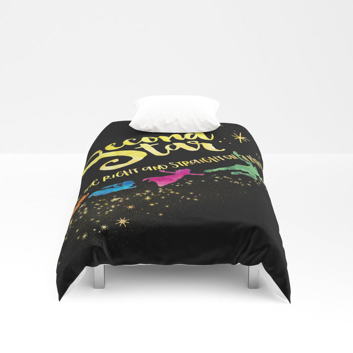 Second star to the right... Peter Pan Quote Duvet Cover