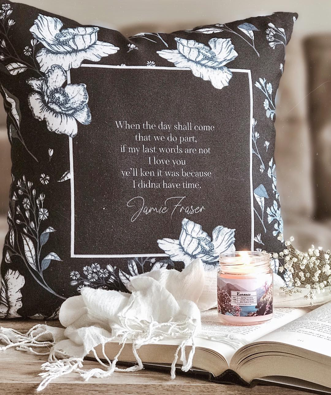 When the day shall come... Jamie Fraser Quote Pillow - LitLifeCo.