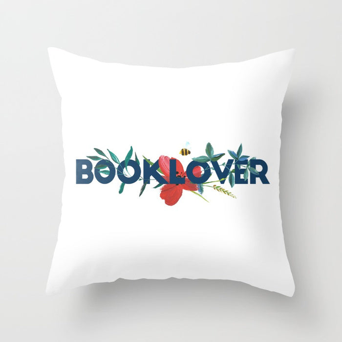 BOOKLOVER Floral Pillow - LitLifeCo.