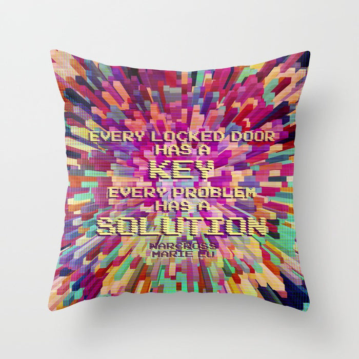 Every locked door has a key. Every problem has a solution. Warcross Quote Pillow - LitLifeCo.