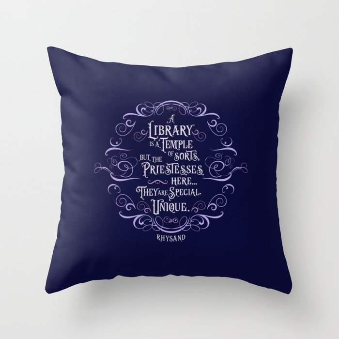 A library is a temple of sorts... Rhysand Quote Pillow - LitLifeCo.