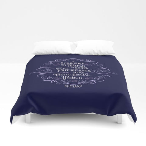 A library is a temple of sorts... Rhysand Quote Duvet Cover - LitLifeCo.