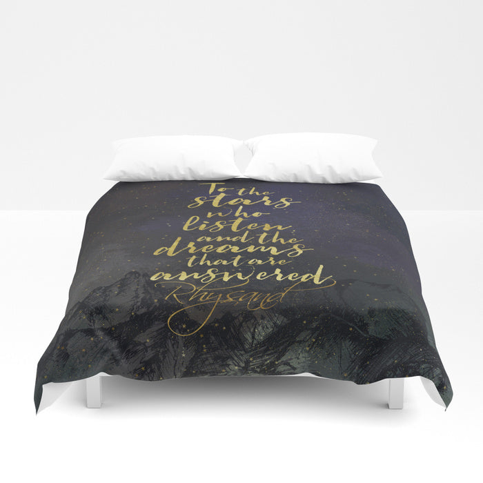 To the stars who listen... A Court of Mist and Fury (ACOMAF) Duvet Cover - LitLifeCo.