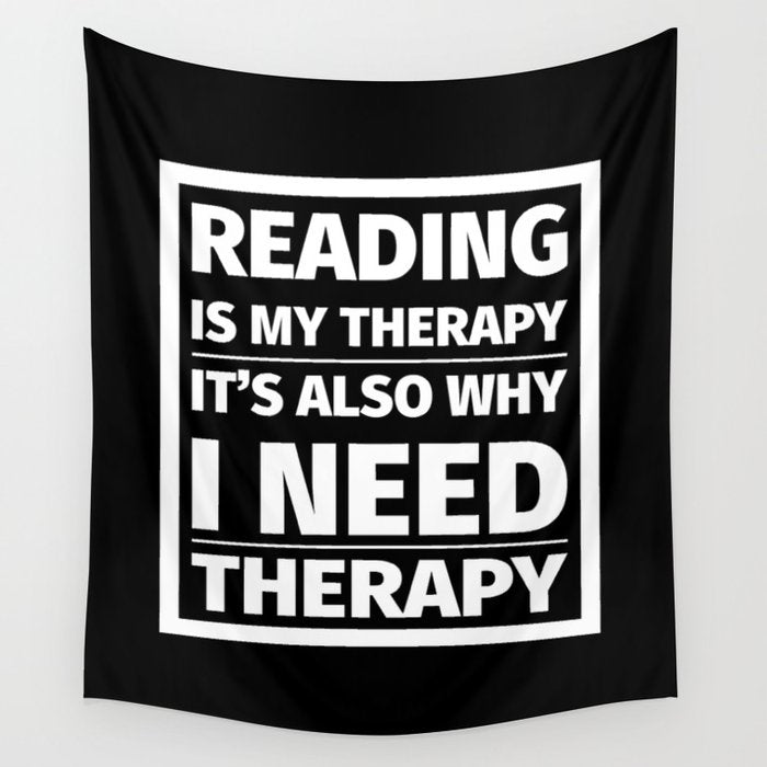 Reading is My Therapy Wall Tapestry - LitLifeCo.