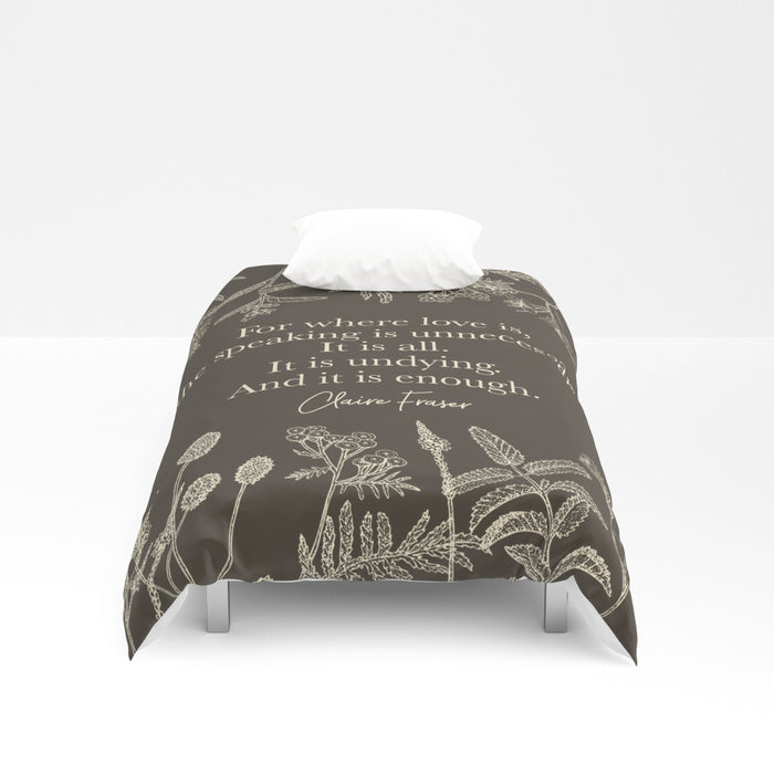 For where love is... Claire Fraser Quote Duvet Cover - LitLifeCo.