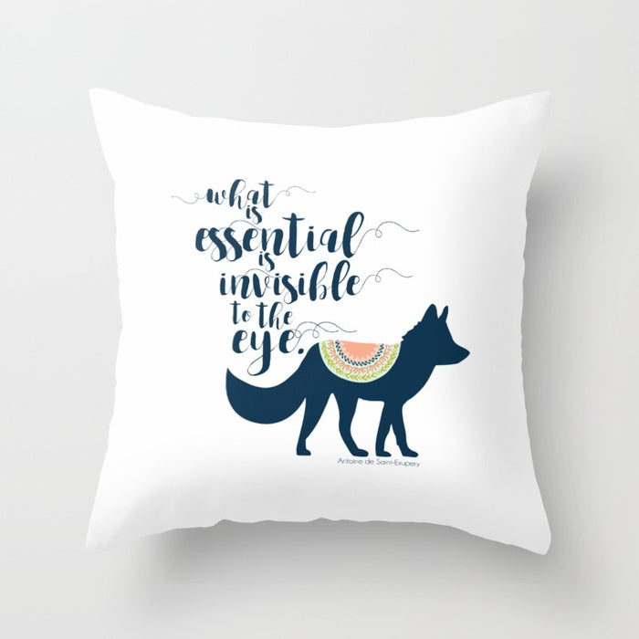 What is essential is invisible to the eye. The Little Prince Quote Pillow