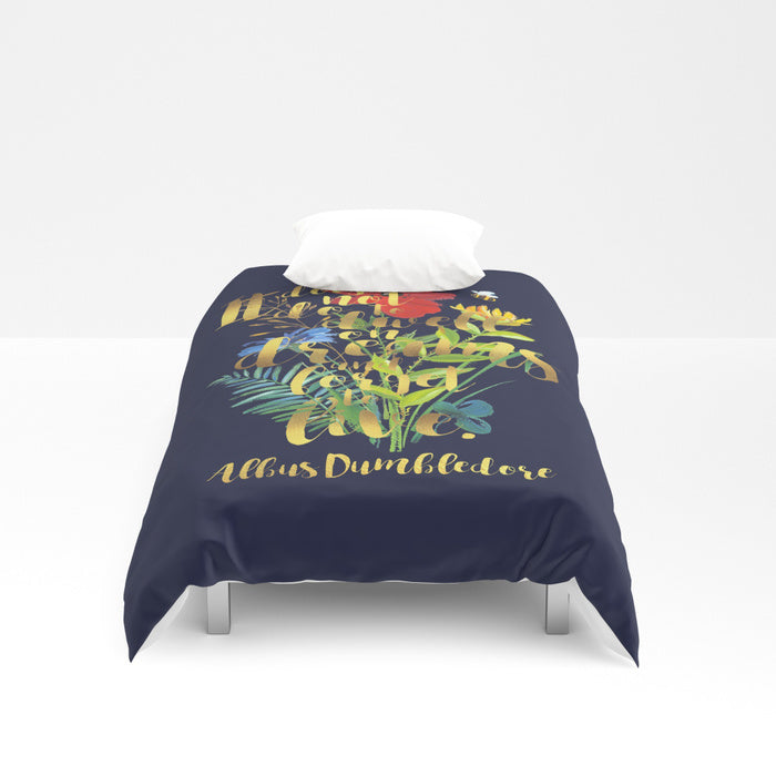 It does not do to dwell on dreams... Albus Dumbledore Quote Duvet Cover - LitLifeCo.