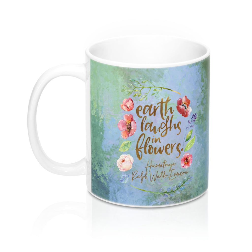 Earth laughs... Ralph Waldo Emerson Quote Mug - LitLifeCo.