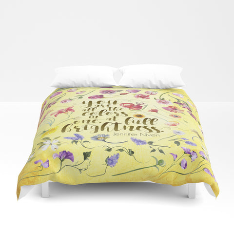 You are all the colors in one... All The Bright Places Quote Duvet Cover