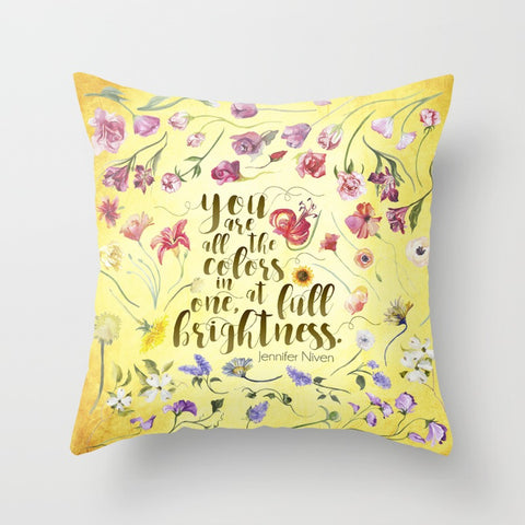 You are all the colors... All The Bright Places Quote Pillow - LitLifeCo.