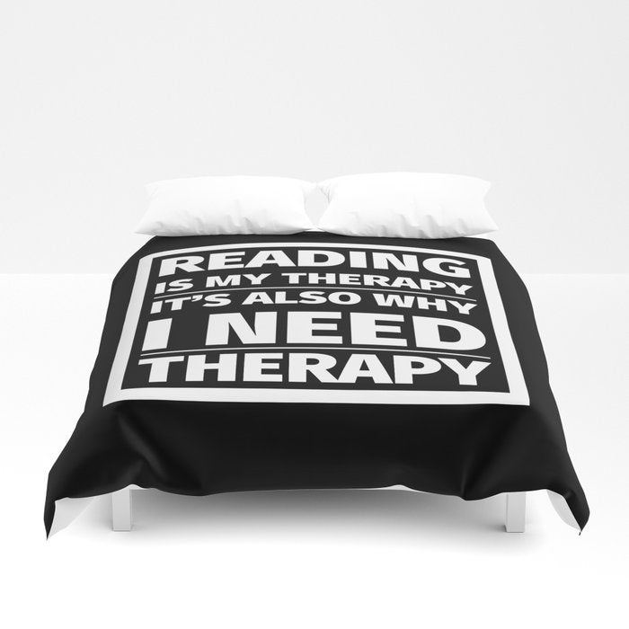 Reading is My Therapy Duvet Cover - LitLifeCo.