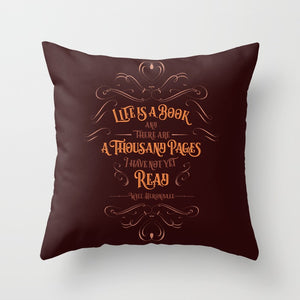 Life is a book and there are a thousand pages I have not yet read. Will Herondale Quote Pillow - LitLifeCo.