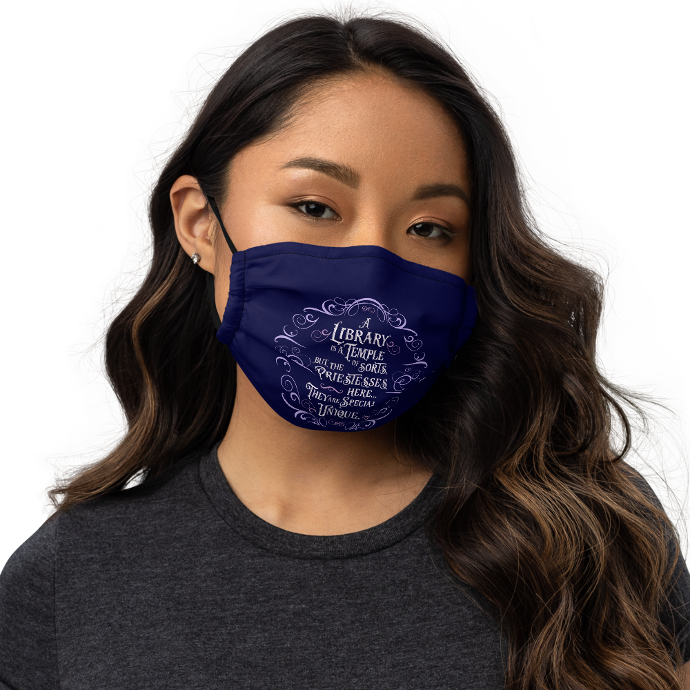 A library is a temple... Rhysand Premium Face Mask