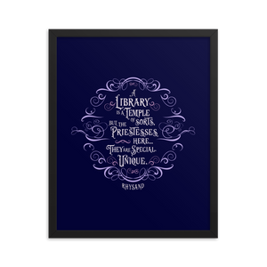 A library is a temple of sorts... Rhysand Quote Art Print - LitLifeCo.