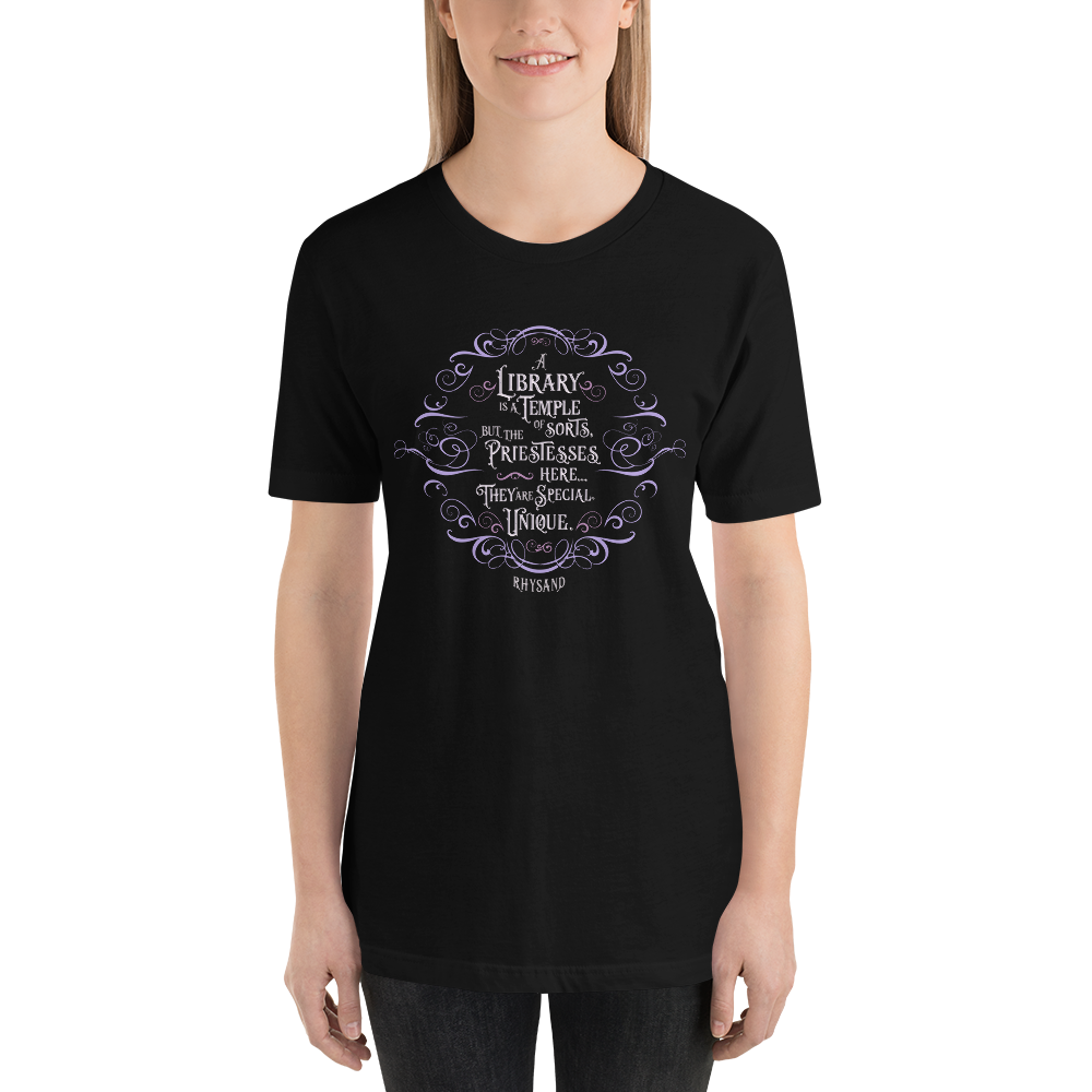 A library is a temple of sorts... Rhysand Quote Unisex Short Sleeved Shirt - LitLifeCo.