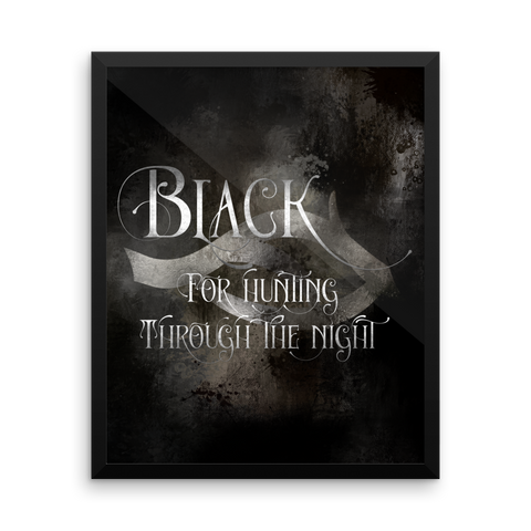 BLACK for hunting through the night. - Shadowhunter Children's Rhyme Art Print