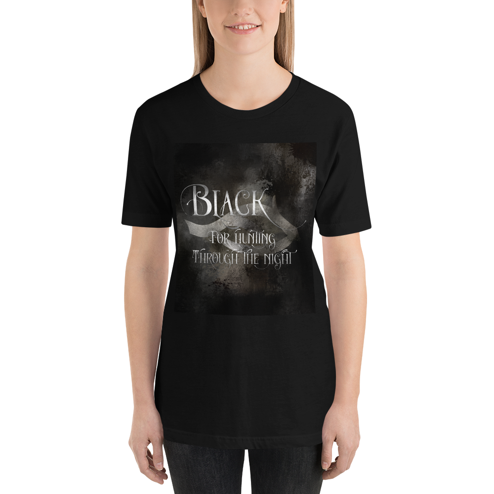 BLACK for hunting through the night. Shadowhunter Children's Rhyme Quote Unisex Short Sleeved Shirt - LitLifeCo.