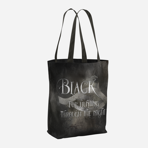 BLACK for hunting through the night. Shadowhunter Children's Rhyme Quote Tote Bag - LitLifeCo.