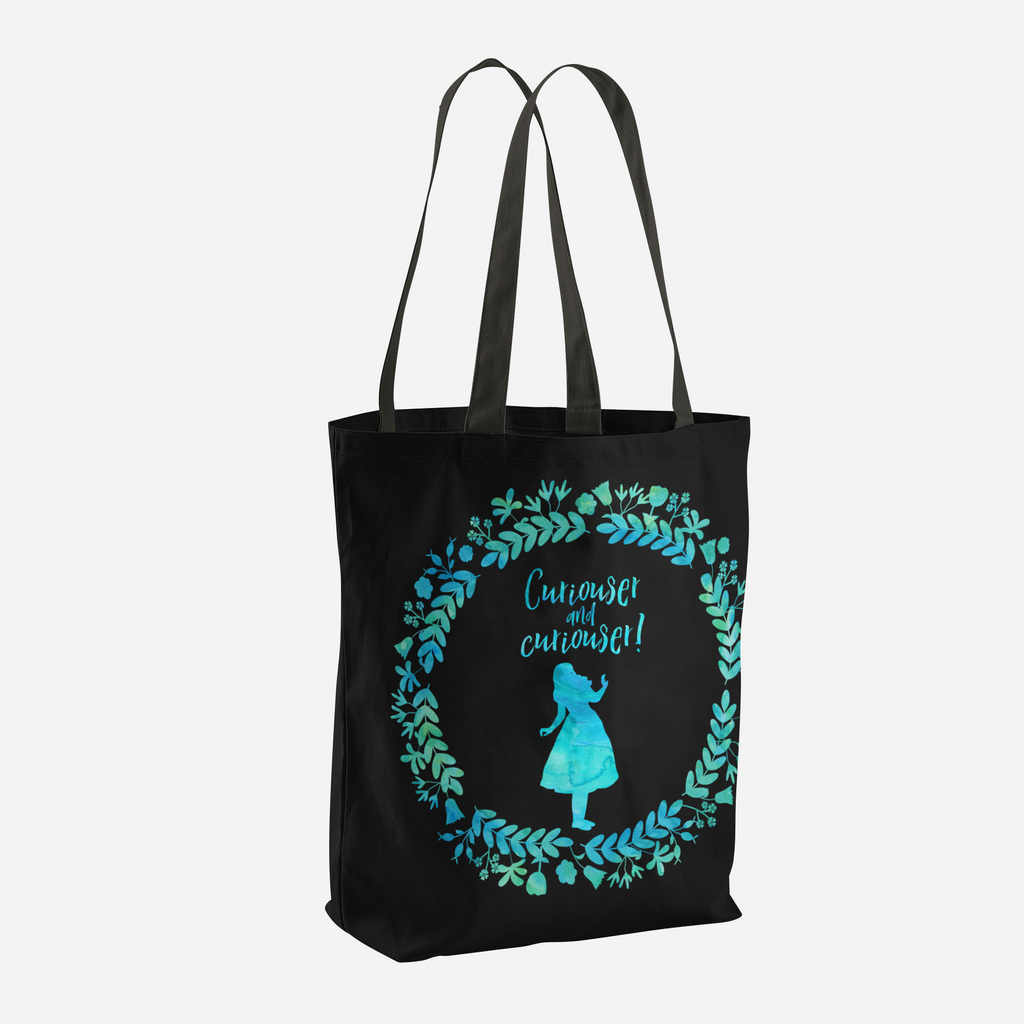 Curiouser and curiouser! Alice in Wonderland Quote Tote Bag