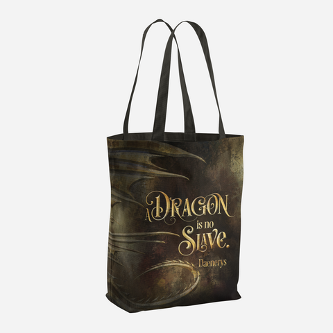 A dragon is no slave. Game of Thrones (A Song of Ice and Fire) Quote Tote Bag - LitLifeCo.